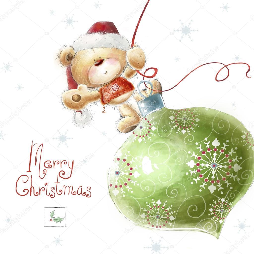 Drawn santa hat cute The toy Background teddy Christmas
