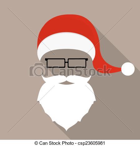 Drawn santa hat flat Beard  icon Santa and