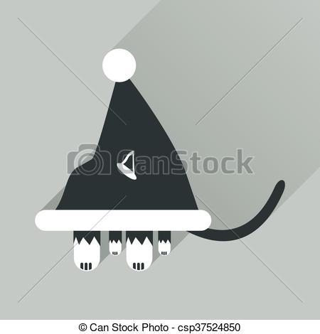 Drawn santa hat flat With hat Santa Vector shadow
