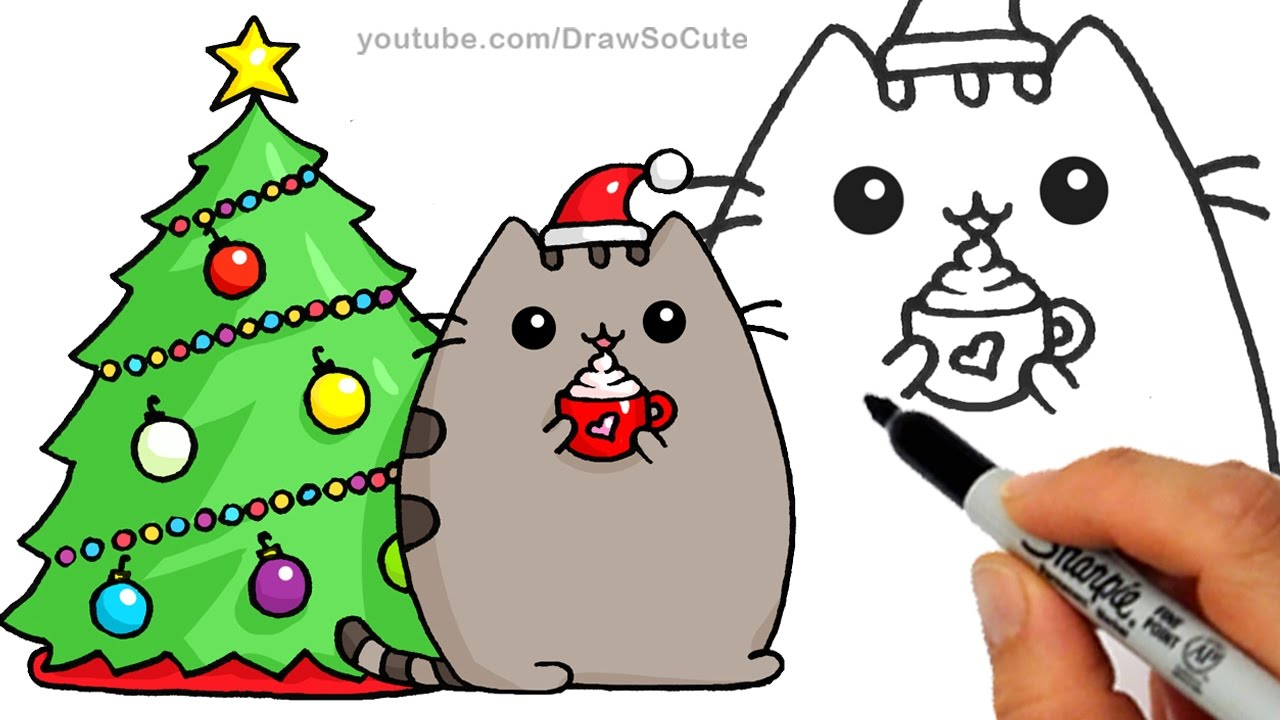 Drawn santa hat holiday Step by to and Cat