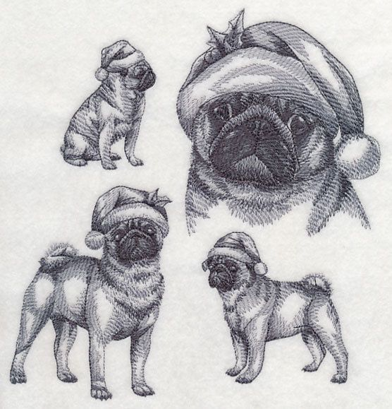 Drawn santa hat holiday Embroidered Back block Pinterest dog