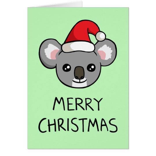 Drawn santa hat merry christmas Koala Card Drawing Christmas Santa