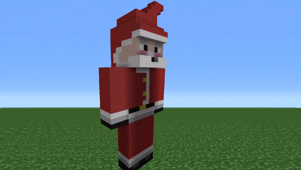 Drawn santa hat draw YouTube Minecraft Santa Statue Tutorial: