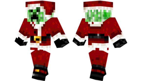 Drawn santa hat minecraft christmas Santa Creeper celebrate Christmas and