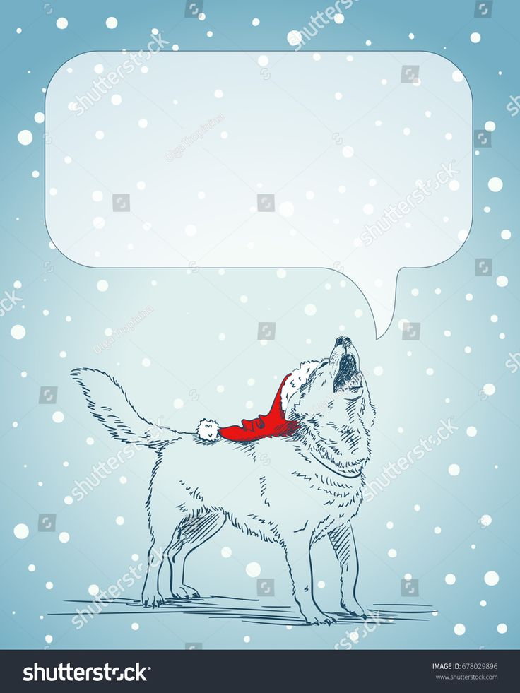 Drawn santa hat new year Santa howling of ideas dog