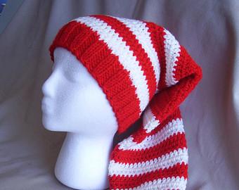 Drawn santa hat sanat Knit Long Etsy Red Christmas