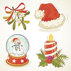 Drawn santa hat vintage Christmas Snow Candle elements Search