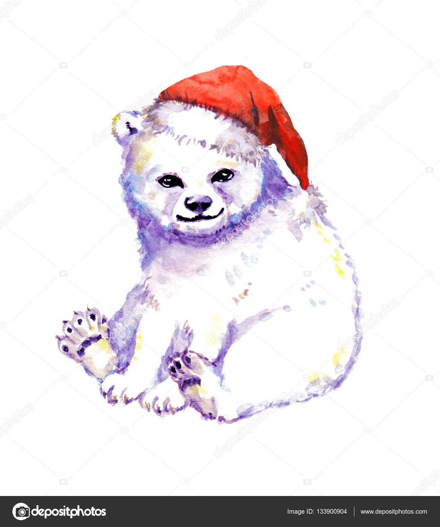 Drawn santa hat watercolor Photo  santa hat cub