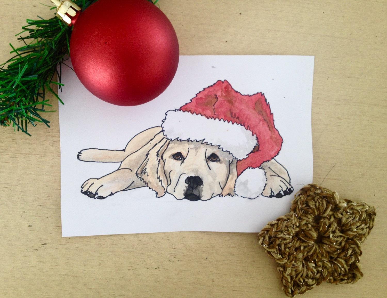 Drawn santa hat watercolor Card golden retreiver or