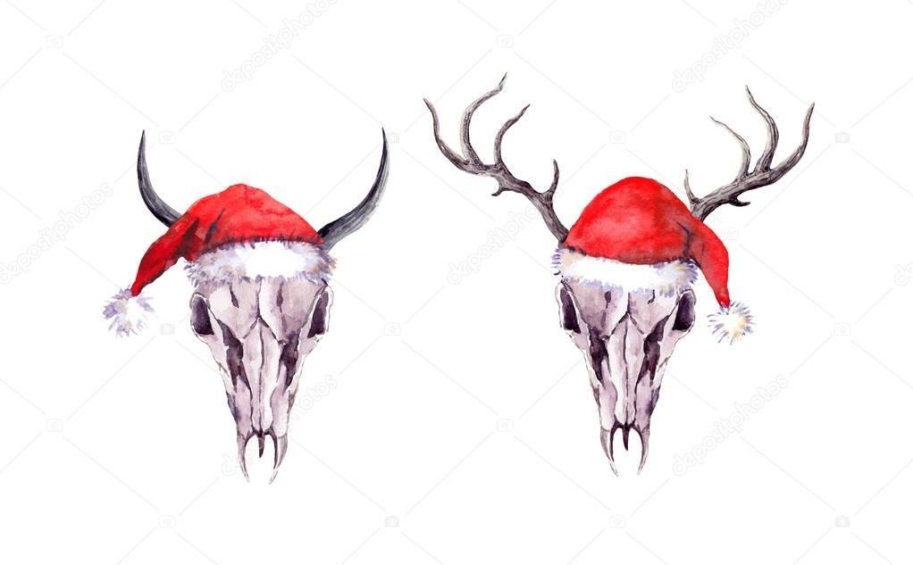 Drawn santa hat watercolor Or santa Deer  bull