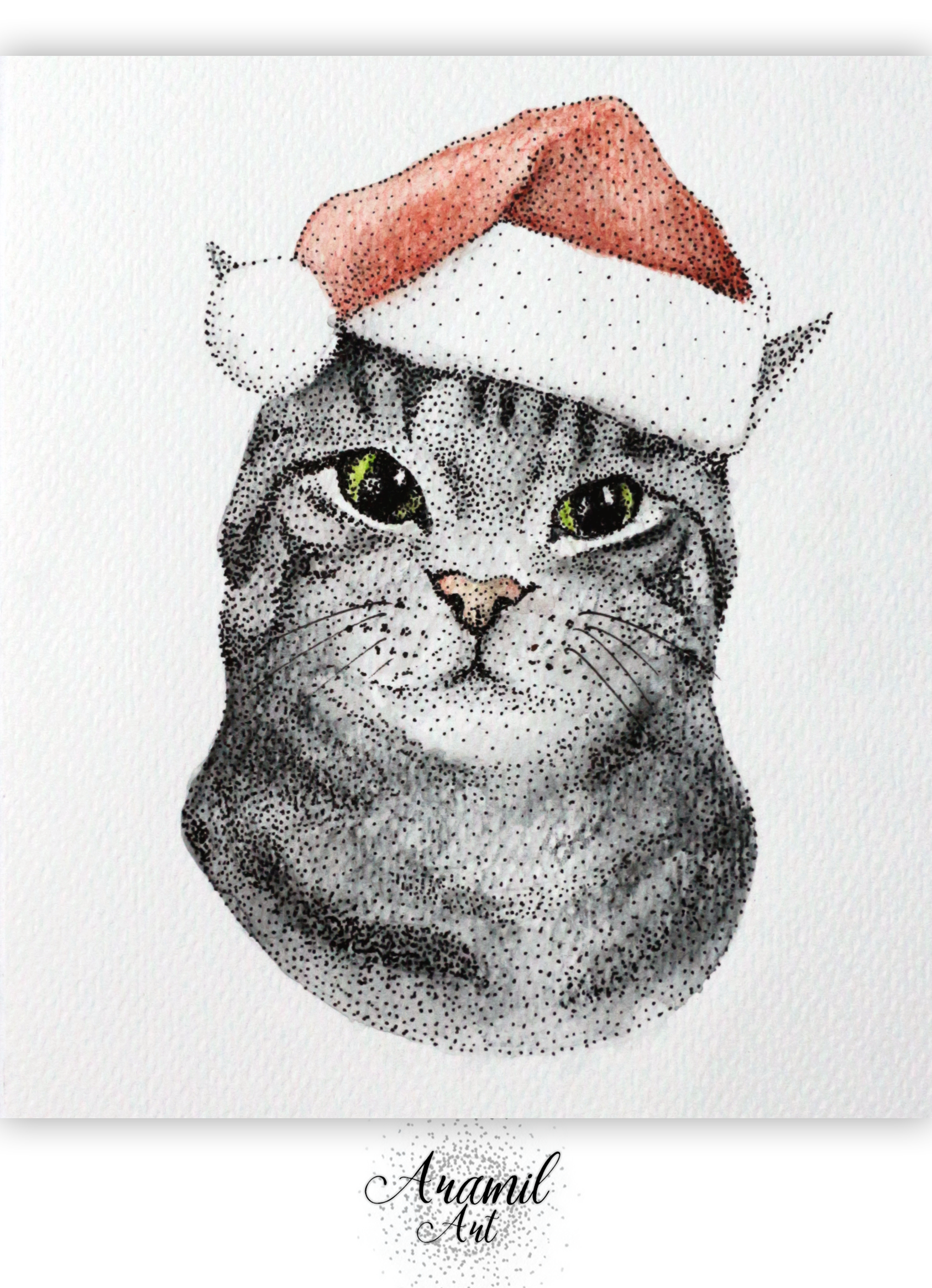 Drawn santa hat watercolor Colored thousand created by hat