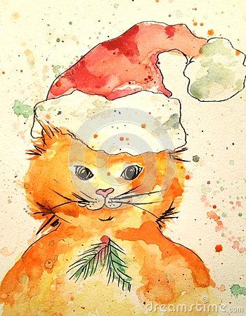 Drawn santa hat watercolor Cats Santa a hat hat