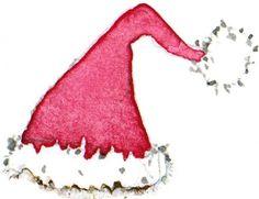 Drawn santa hat watercolor Stock Christmas Colorful paint art