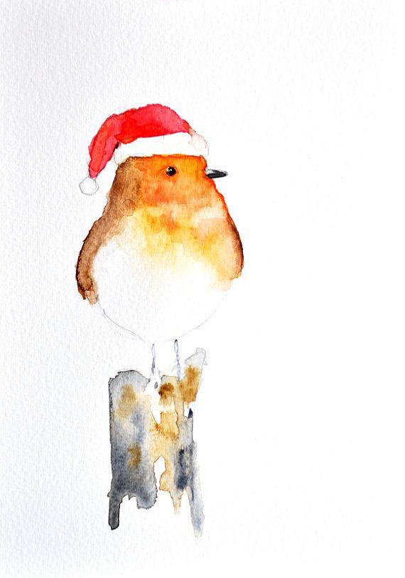 Drawn santa hat watercolor Watercolor ORIGINAL Christmas 6x8 Watercolor