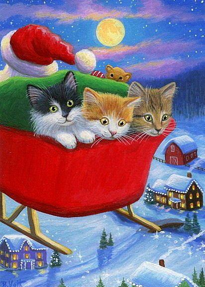 Drawn santa kitten Pinterest painting moon aceo sleigh