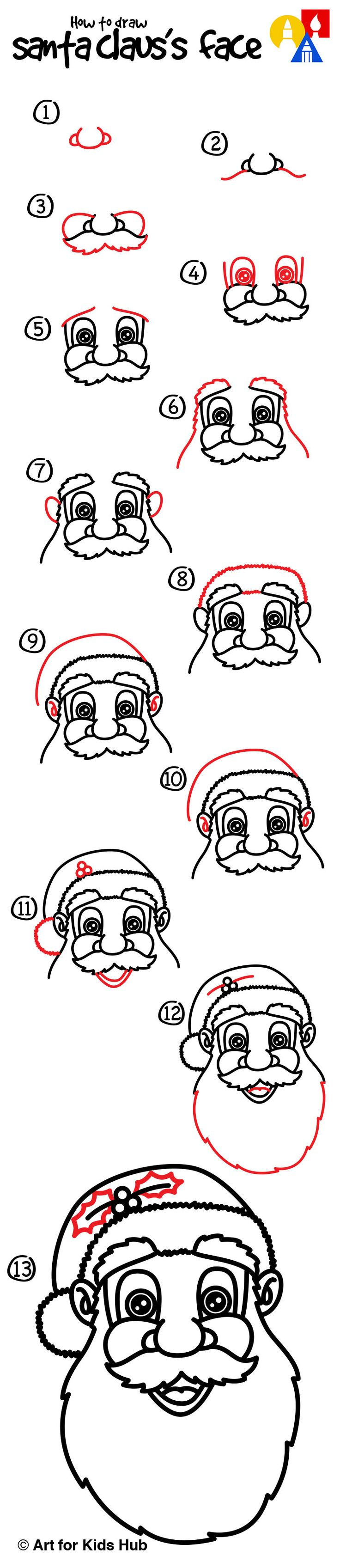 Drawn santa line drawing How draw of 20+ ~