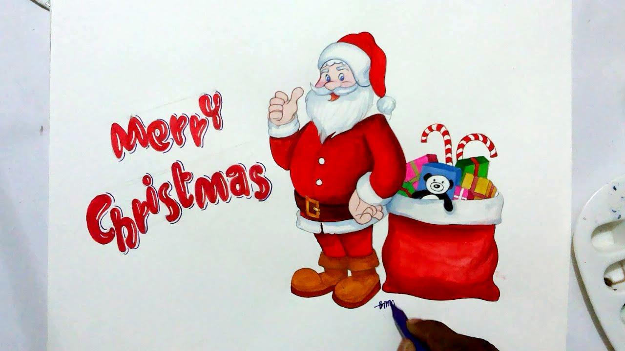 Drawn santa merry christmas Santa draw YouTube how Claus
