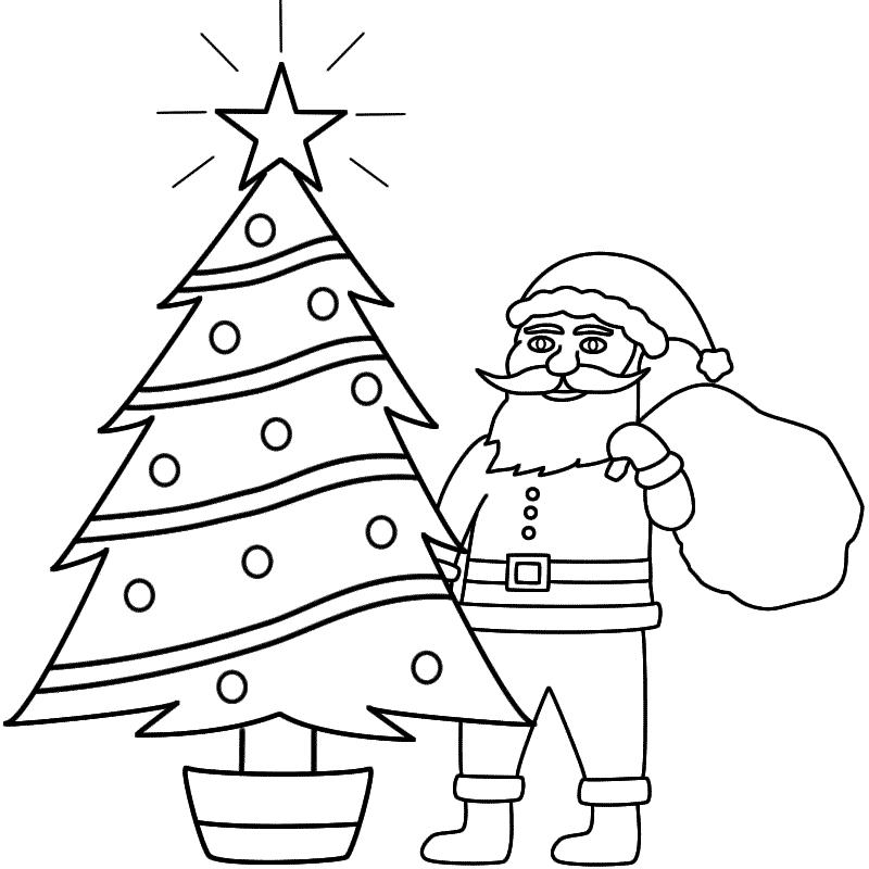 Drawn santa merry christmas Page Coloring Christmas Santa Tree