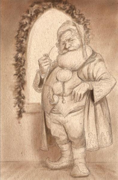 Drawn santa realistic Natural in art canvas use