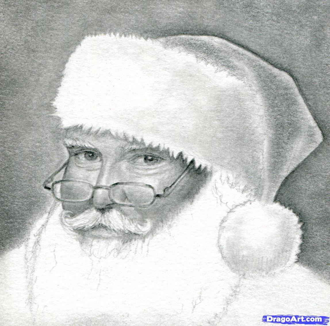 Drawn santa realistic Santa Drawing to Santa Claus