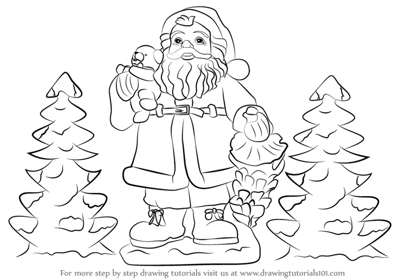 Drawn santa santa claus Santa with Step with Gifts