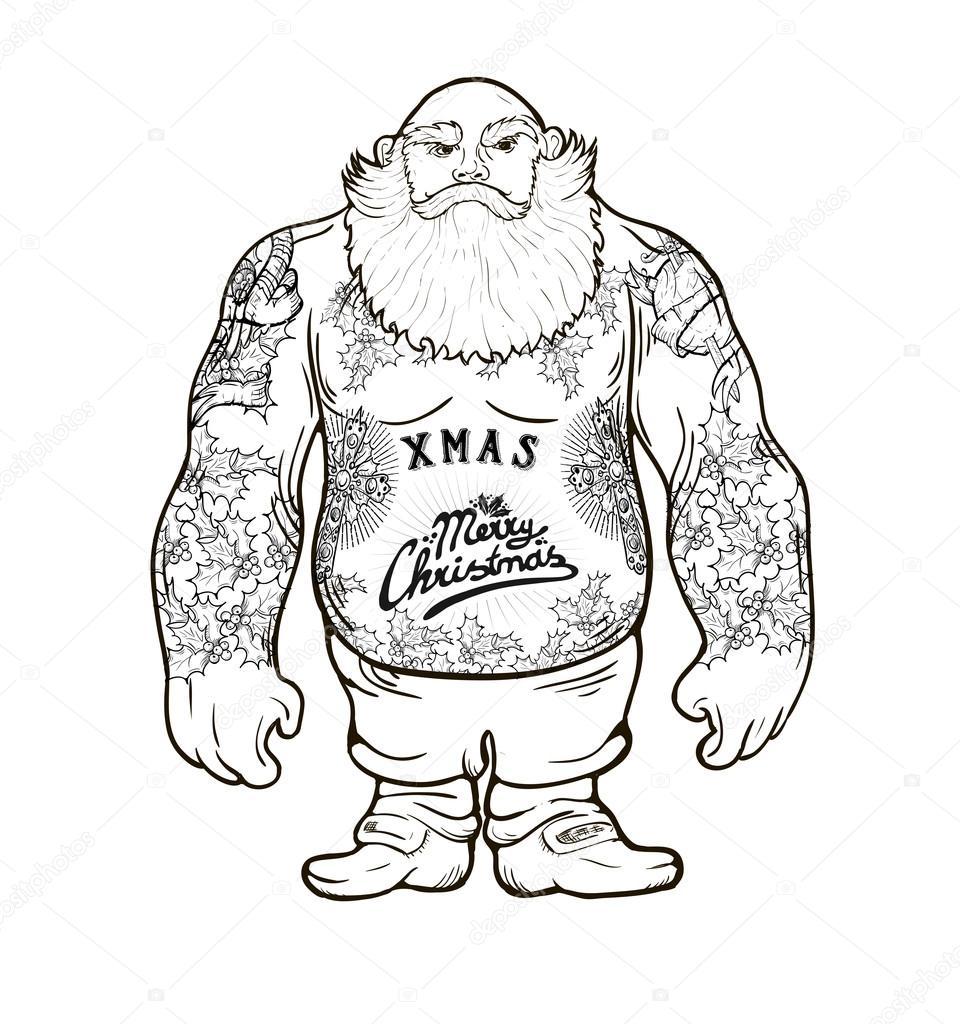 Drawn santa xma With — Santa Vector ©