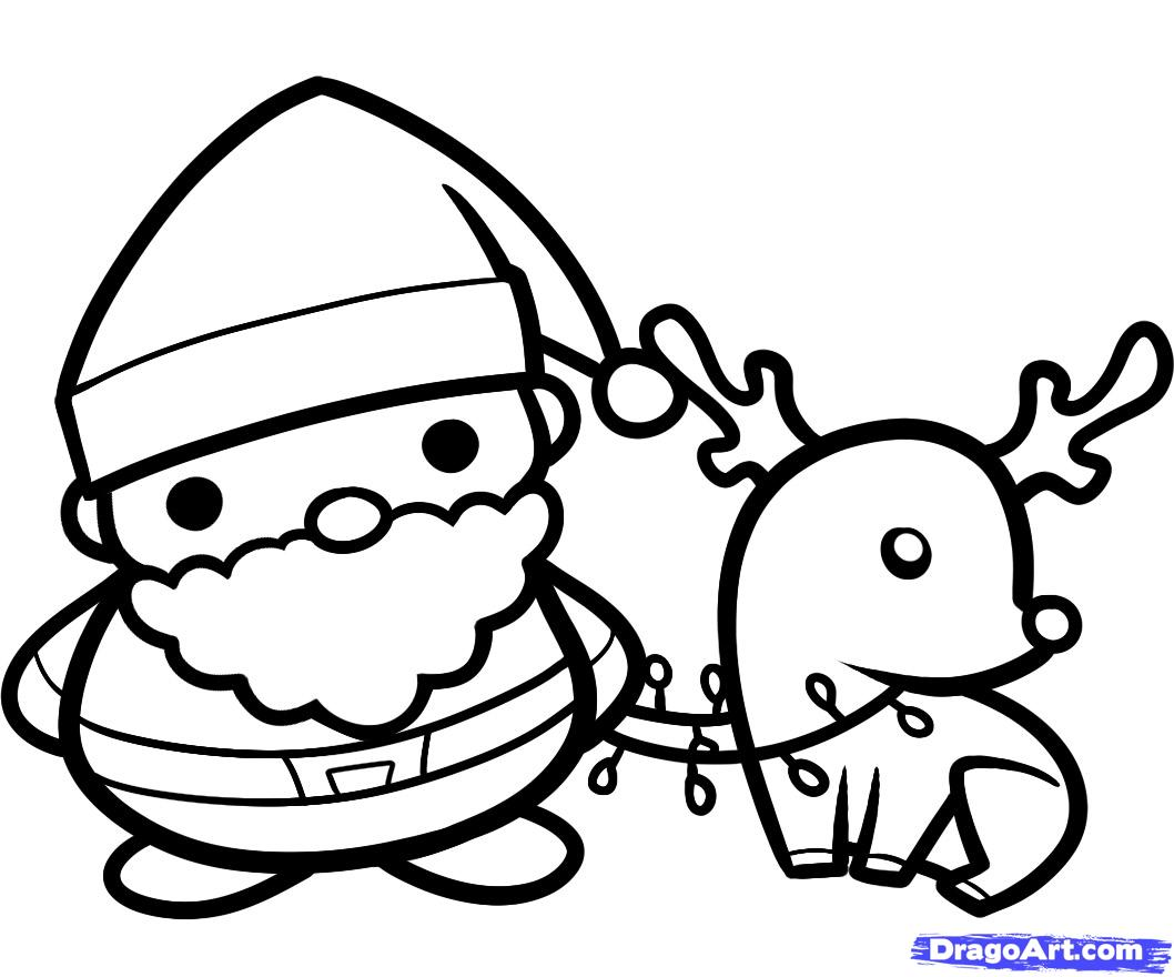 Drawn reindeer santa hat 9 and Step Draw how