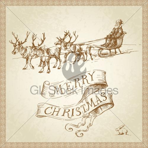 Drawn santa christmas card Hand Santa Stock · Drawn