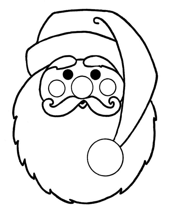 Drawn santa simple Christmas pages applique Coloring pages