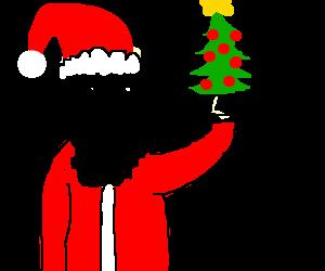 Drawn santa christmas tree Tree and Santa Santa Claws