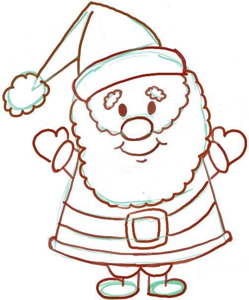Drawn sanya easy Santa Instructions for Kids to