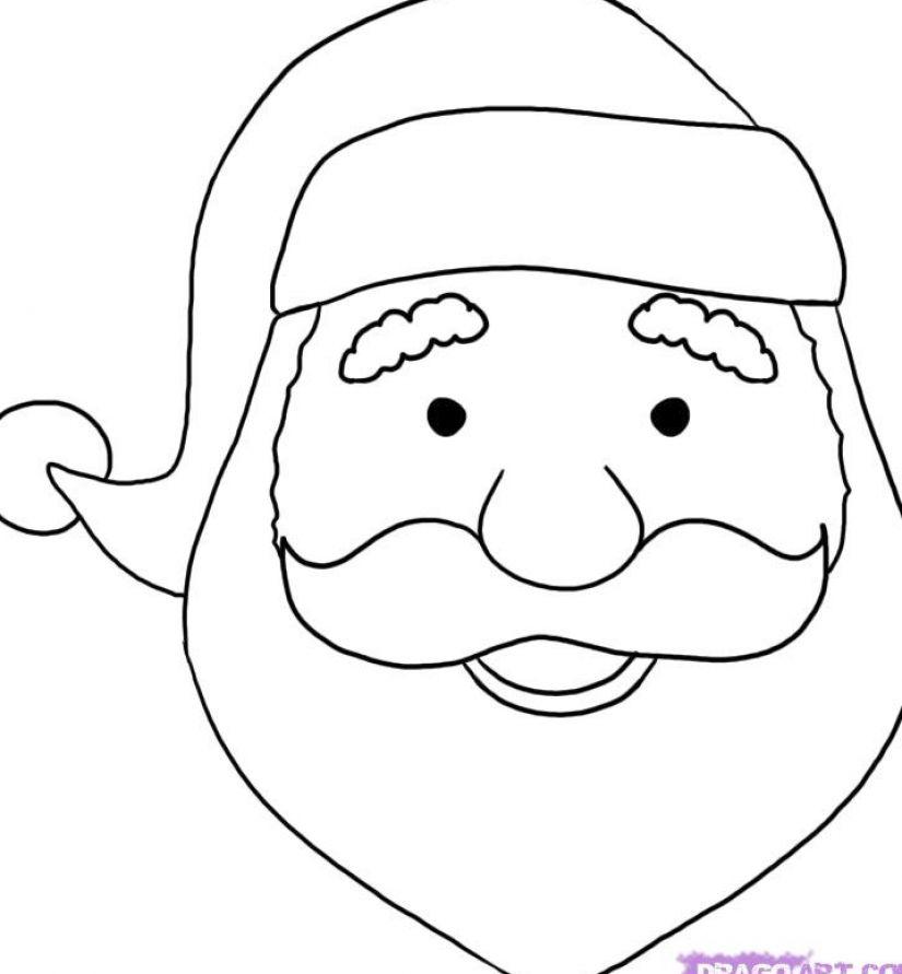 Drawn santa face Santa 1 Claus Santa face