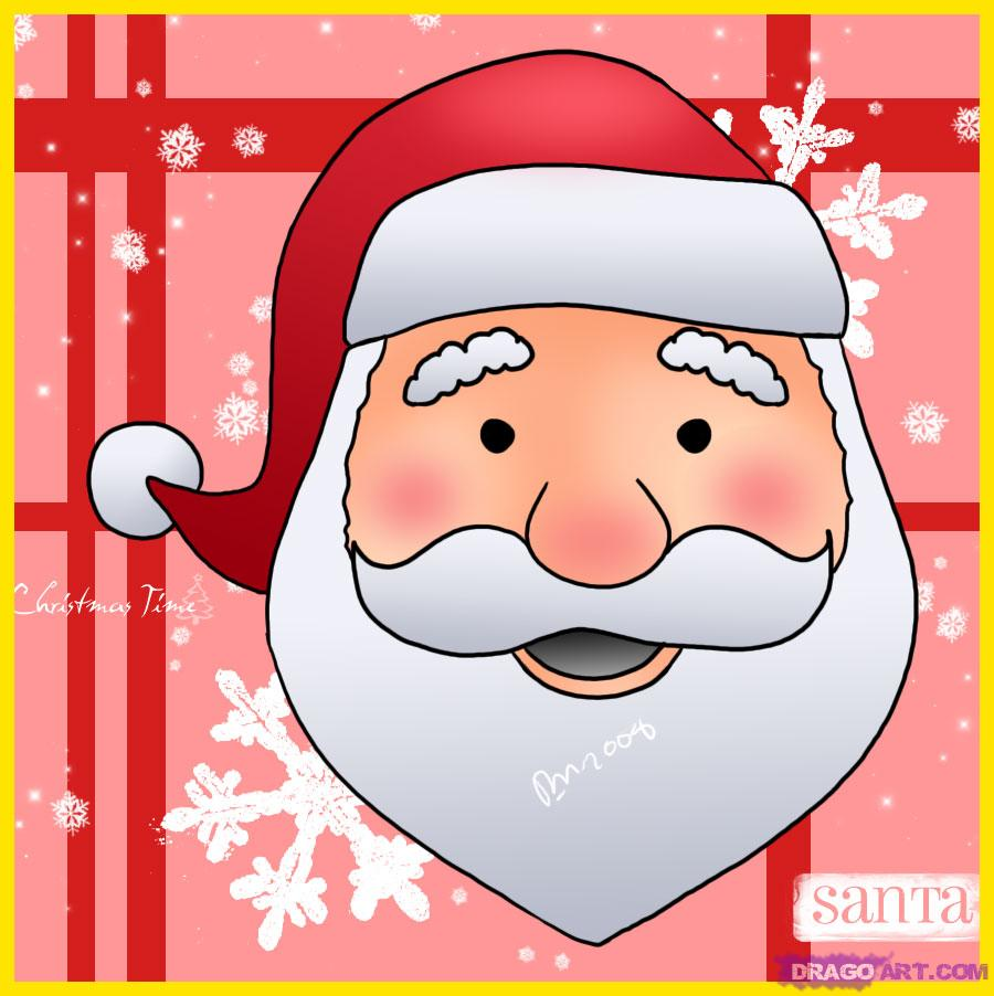 Drawn santa caricature Step a santa face by