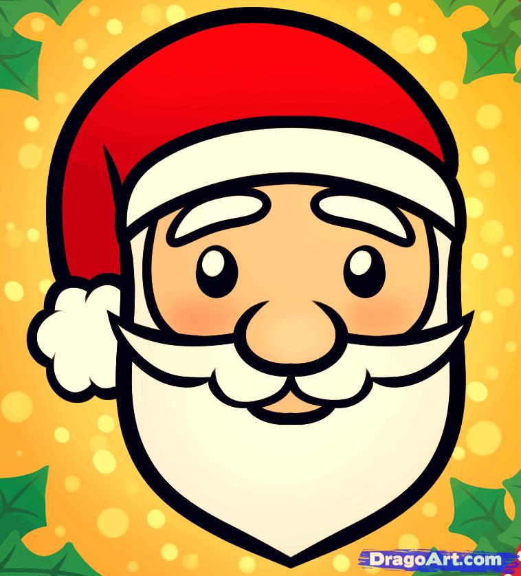 Drawn sanya face Santa to by a Step