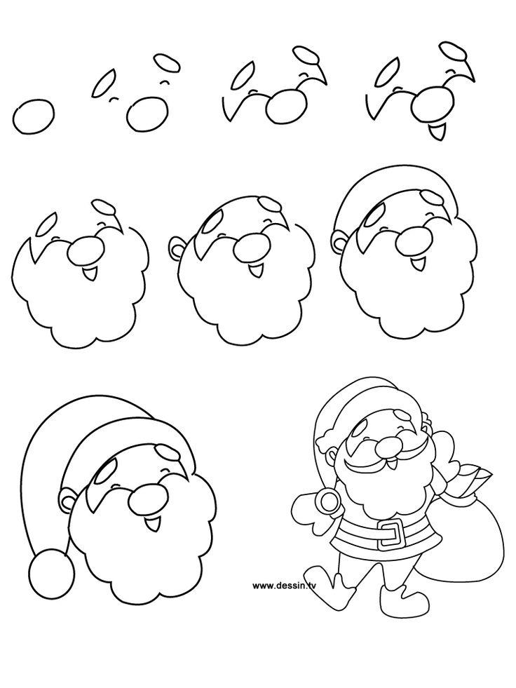 Drawn reindeer santa hat Drawing Father santa claus christmas