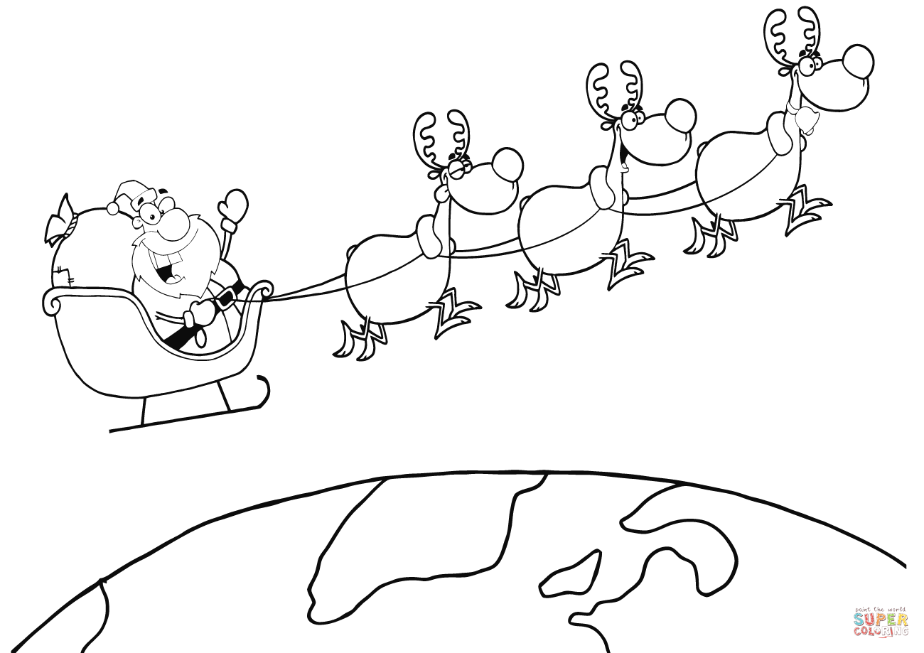 Drawn reindeer sleigh Santa Earth Sleigh Above and