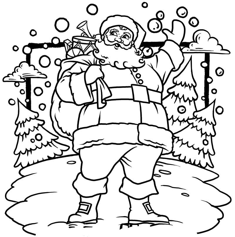 Drawn santa christmas coloring page Holidays pages santa santa Coloring
