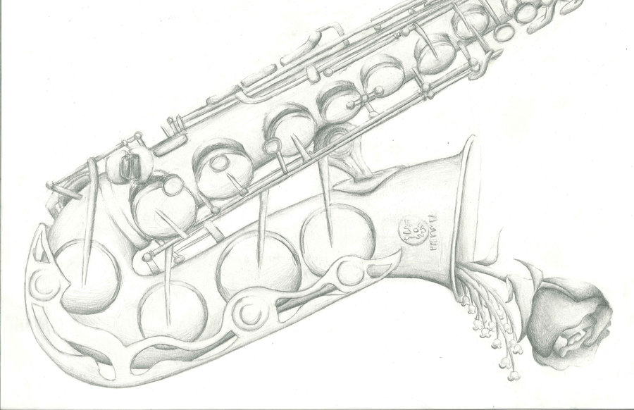 Drawn saxophone By Saxophone tarapanda44 on Saxophone