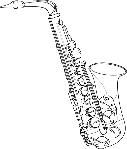 Drawn saxophone &  Image Drawing Saxophone