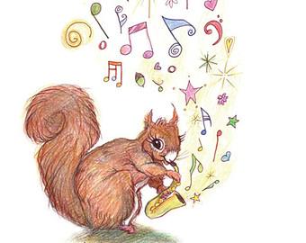 Drawn rodent child Nursery Saxophone saxophone Watercolour Squirrel