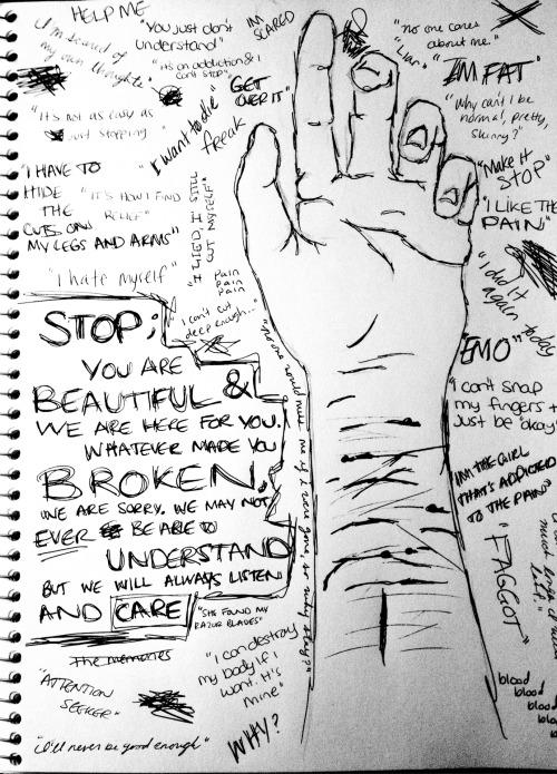 Drawn scar cutter Suicide depression self blood harm