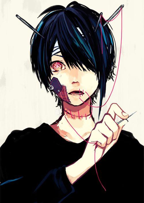 Drawn scar eye anime Hair stuff on Scar Red