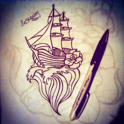 Drawn scar memory #waves #sail #boat #memory #draw