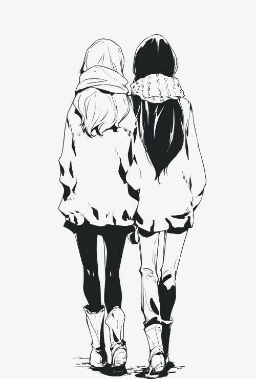 Drawn scarf anime Girls girls Anime friends Anime