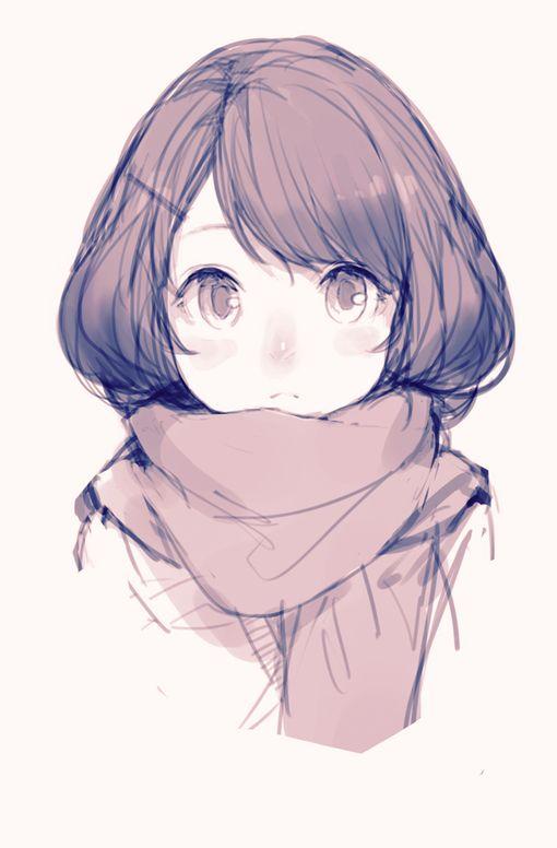 Drawn scarf anime Girl best kawaii 118 Anime!!