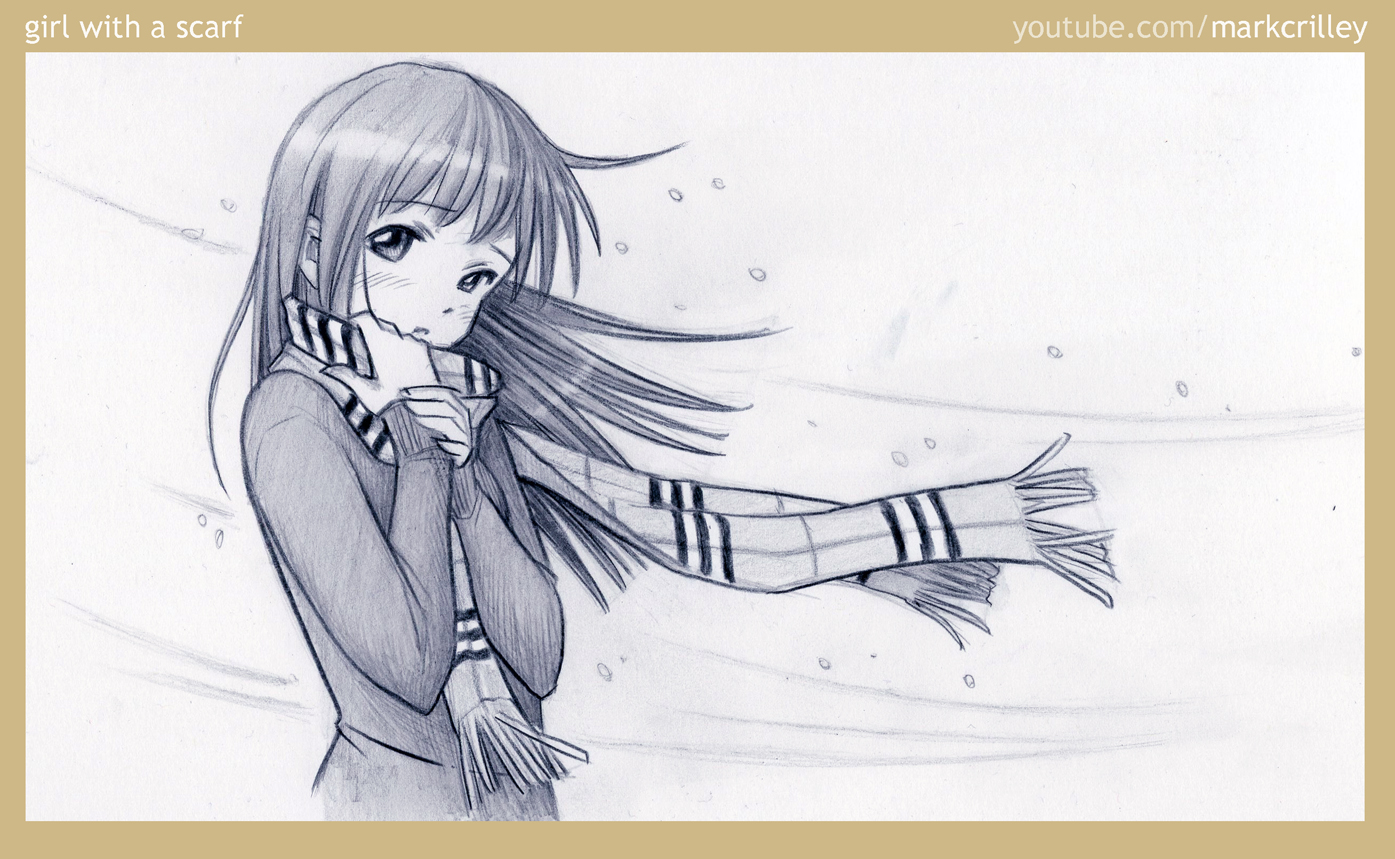 Drawn scarf anime By Girl markcrilley with markcrilley