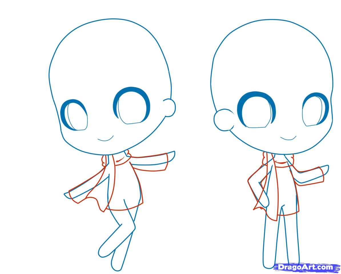 Drawn scarf anime Step person 4 Chibi draw