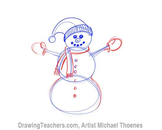 Drawn scarf easy Snowman a Step Draw Snowman
