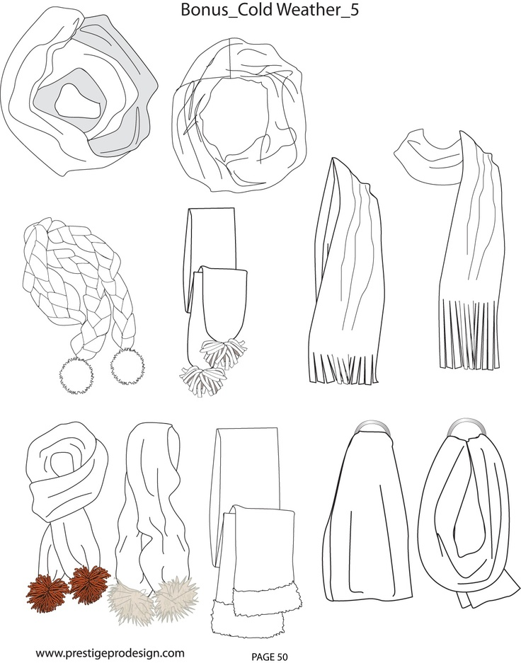 Drawn scarf fashion scarf Fashion scarf flat sketch Search
