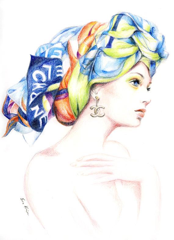 Drawn scarf fashion scarf Drawing Illustration Fashion Print Scarf